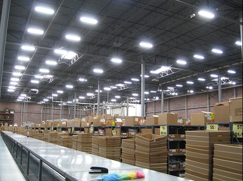 T5 high bay lighting retrofit for Ohio Distribution Center using energy efficient warehouse lighting.
