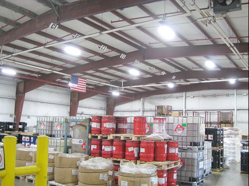 Image of industrial high bay lighting installation for ASK Chemicals.