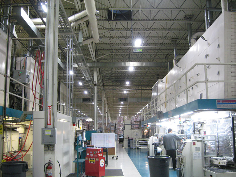 Youngstown Ohio Manufacturing Company T5 high bay lighting retrofit energy reduction project